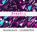 memphis seamless pattern.... | Shutterstock .eps vector #1116062924