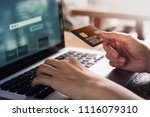 customer using credit card and... | Shutterstock . vector #1116079310