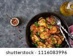 eggplant grilled with tomato... | Shutterstock . vector #1116083996