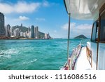 pleasure boat moving across... | Shutterstock . vector #1116086516