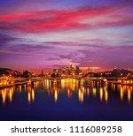 frankfurt skyline at sunset in... | Shutterstock . vector #1116089258