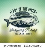 grayling fly fishing logo. the... | Shutterstock .eps vector #1116096050