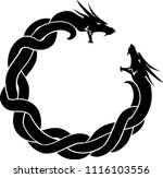 dragon duo silhouette | Shutterstock .eps vector #1116103556