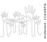continuous one line hands with... | Shutterstock .eps vector #1116106916