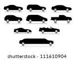 Silhouettes of different body types of a cars