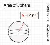 area of sphere  mathematical... | Shutterstock .eps vector #1116110363