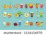 funny healthy and fast food... | Shutterstock .eps vector #1116116570