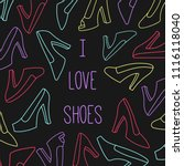 women shoes vector set line... | Shutterstock .eps vector #1116118040