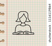 schoolgirl and book sketch icon.... | Shutterstock . vector #1116119864