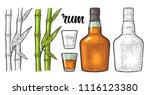 glass and bottle of rum with... | Shutterstock .eps vector #1116123380