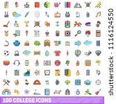 100 college icons set. cartoon...   Shutterstock . vector #1116124550