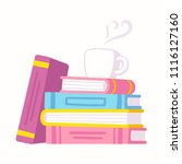 stack of books and cup of... | Shutterstock .eps vector #1116127160