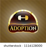 gold shiny emblem with big... | Shutterstock .eps vector #1116128000