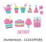 set of birthday icon  funny... | Shutterstock .eps vector #1116149186