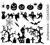 set of halloween silhouette on... | Shutterstock .eps vector #111615260