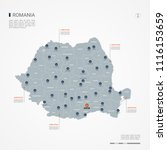 romania map with borders ... | Shutterstock .eps vector #1116153659