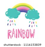 cute colorful rainbow | Shutterstock .eps vector #1116153839