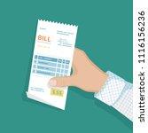 bill in man hand. icon sales... | Shutterstock .eps vector #1116156236