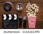 cinema background  top view.... | Shutterstock . vector #1116161390
