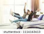 young couple's arrival to the... | Shutterstock . vector #1116163613