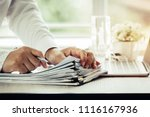 businessman hands holding pen... | Shutterstock . vector #1116167936