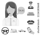 taxi service monochrome icons... | Shutterstock .eps vector #1116183668