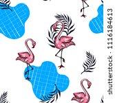 summer card. sketch of pink... | Shutterstock .eps vector #1116184613
