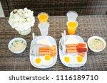 top view table of breakfast... | Shutterstock . vector #1116189710