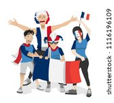 france football fans. cheerful... | Shutterstock .eps vector #1116196109
