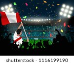 supporter hold peru flag among... | Shutterstock .eps vector #1116199190