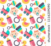 baby shower seamless pattern.... | Shutterstock .eps vector #1116209090