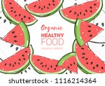 watermelon frame hand drawn... | Shutterstock .eps vector #1116214364