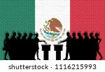 mexican voters crowd silhouette ... | Shutterstock .eps vector #1116215993