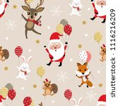 merry christmas with santa... | Shutterstock .eps vector #1116216209