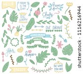 hand drawn doodles collection.... | Shutterstock .eps vector #1116216944