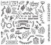 hand drawndoodles collection.... | Shutterstock .eps vector #1116216950