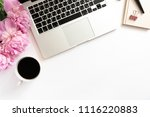 home office desk with laptop ... | Shutterstock . vector #1116220883
