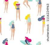summer girl tropical seamless...   Shutterstock .eps vector #1116224963