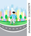 young guy rides on skateboard... | Shutterstock .eps vector #1116235079