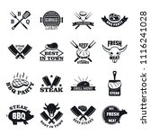 steak logo grilled beef icons... | Shutterstock .eps vector #1116241028