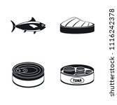 tuna fish can steak icons set.... | Shutterstock .eps vector #1116242378