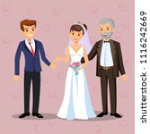 the father passes the bride to... | Shutterstock .eps vector #1116242669