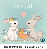 Stock vector cute hares couple 1116243173
