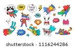 superhero cute hand drawn... | Shutterstock .eps vector #1116244286