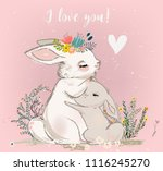 Stock vector cute hare with child 1116245270