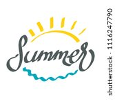 hand drawing word summer with... | Shutterstock .eps vector #1116247790