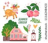 vector set of cute summer... | Shutterstock .eps vector #1116248423