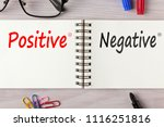 positive or negative written on ... | Shutterstock . vector #1116251816