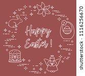 easter symbols. easter cake ... | Shutterstock .eps vector #1116256670