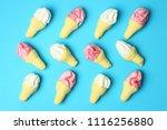 jelly ice cream on turquoise... | Shutterstock . vector #1116256880